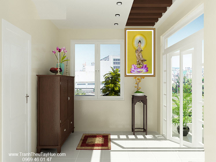 tranh thêu Phật Quan Âm