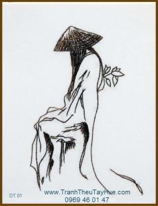 Tranh thêu truyền thống dáng xưa 01