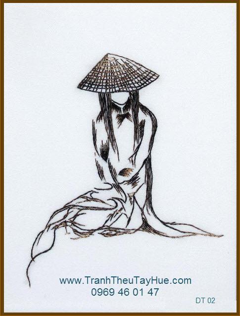 Tranh thêu truyền thống dáng xưa 02