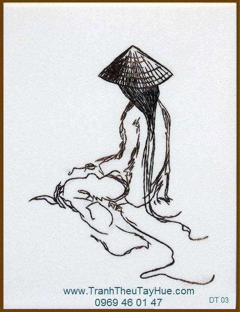Tranh thêu truyền thống dáng xưa 03
