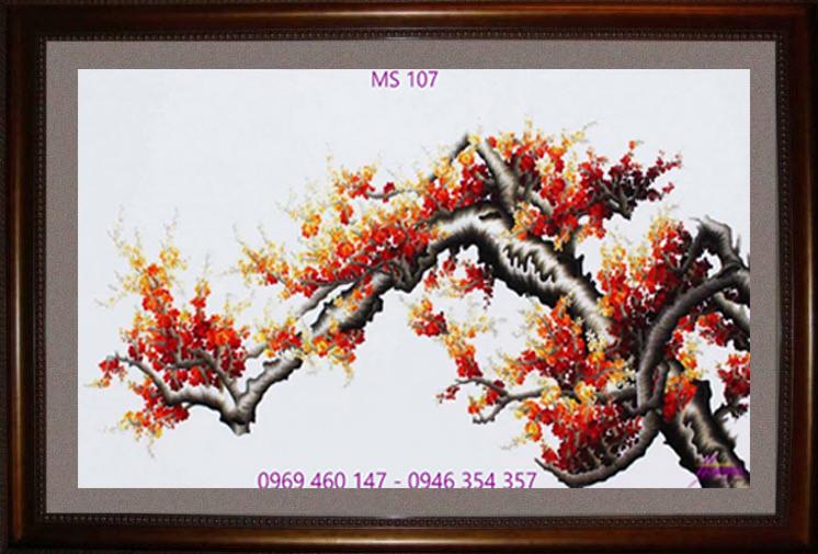 tranh thêu hoa đào 107
