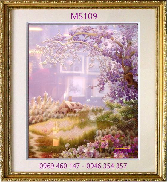 tranh thêu hoa đào 109