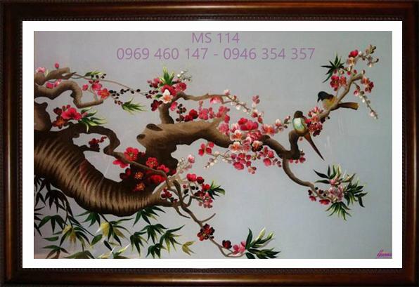 tranh thêu hoa đào 114