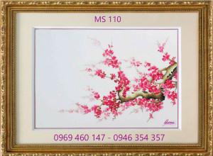 tranh thêu hoa đào 110
