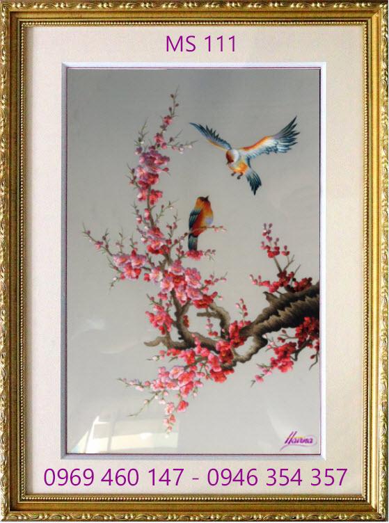 tranh thêu hoa đào 111