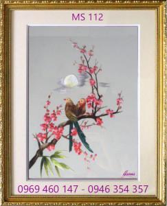 tranh thêu hoa đào 112
