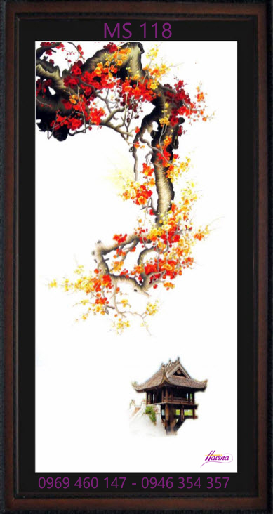tranh thêu hoa đào 118
