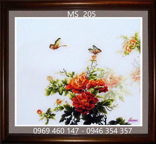 tranh thêu hoa mẫu đơn 205