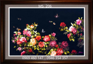 tranh thêu hoa mẫu đơn 206