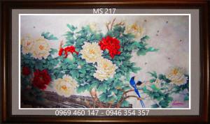 tranh thêu hoa mẫu đơn 217