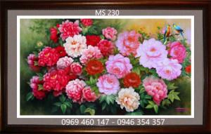 tranh thêu hoa mẫu đơn 230