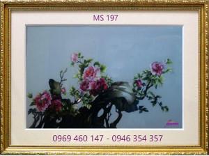 tranh thêu hoa mẫu đơn 197