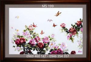 tranh thêu hoa mẫu đơn 199