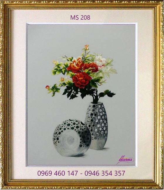 tranh thêu hoa mẫu đơn 208