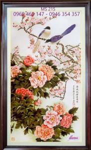 tranh thêu hoa mẫu đơn 215