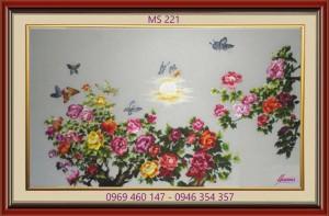 tranh thêu hoa mẫu đơn 221