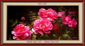 tranh thêu hoa mẫu đơn 229