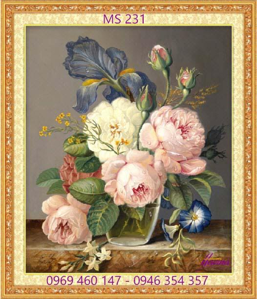 tranh thêu hoa mẫu đơn 231