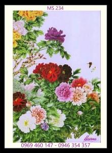tranh thêu hoa mẫu đơn 234