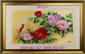 tranh thêu hoa mẫu đơn 235