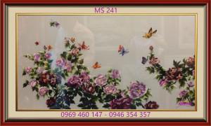 tranh thêu hoa mẫu đơn 241