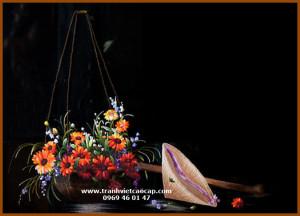 tranh thêu truyền thống gánh hoa