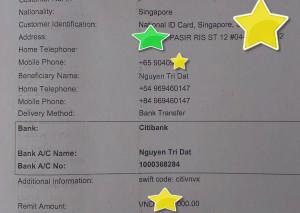 phiếu chuyển tiền của khách hàng Singapore cho tranh thêu tay huế