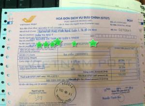 Hóa đơn gửi tranh đi Singapore