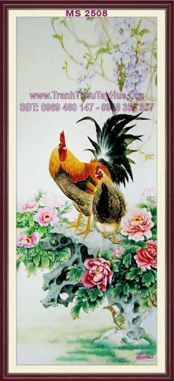 tranh thêu con gà trống