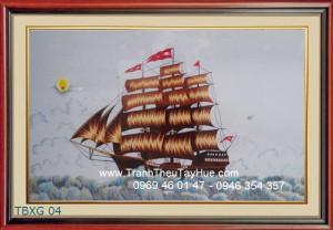 Tranh thêu truyền thống thuyền buồm 04