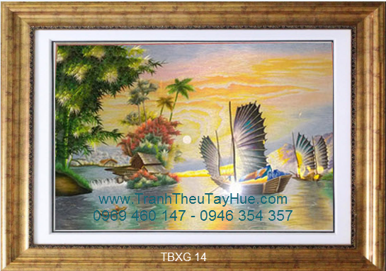tTranh thêu truyền thống thuyền buồm 14
