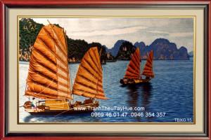 tranh thêu thuyền buồm