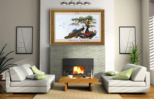 Kết quả hình ảnh cho tranh thêu phòng khách