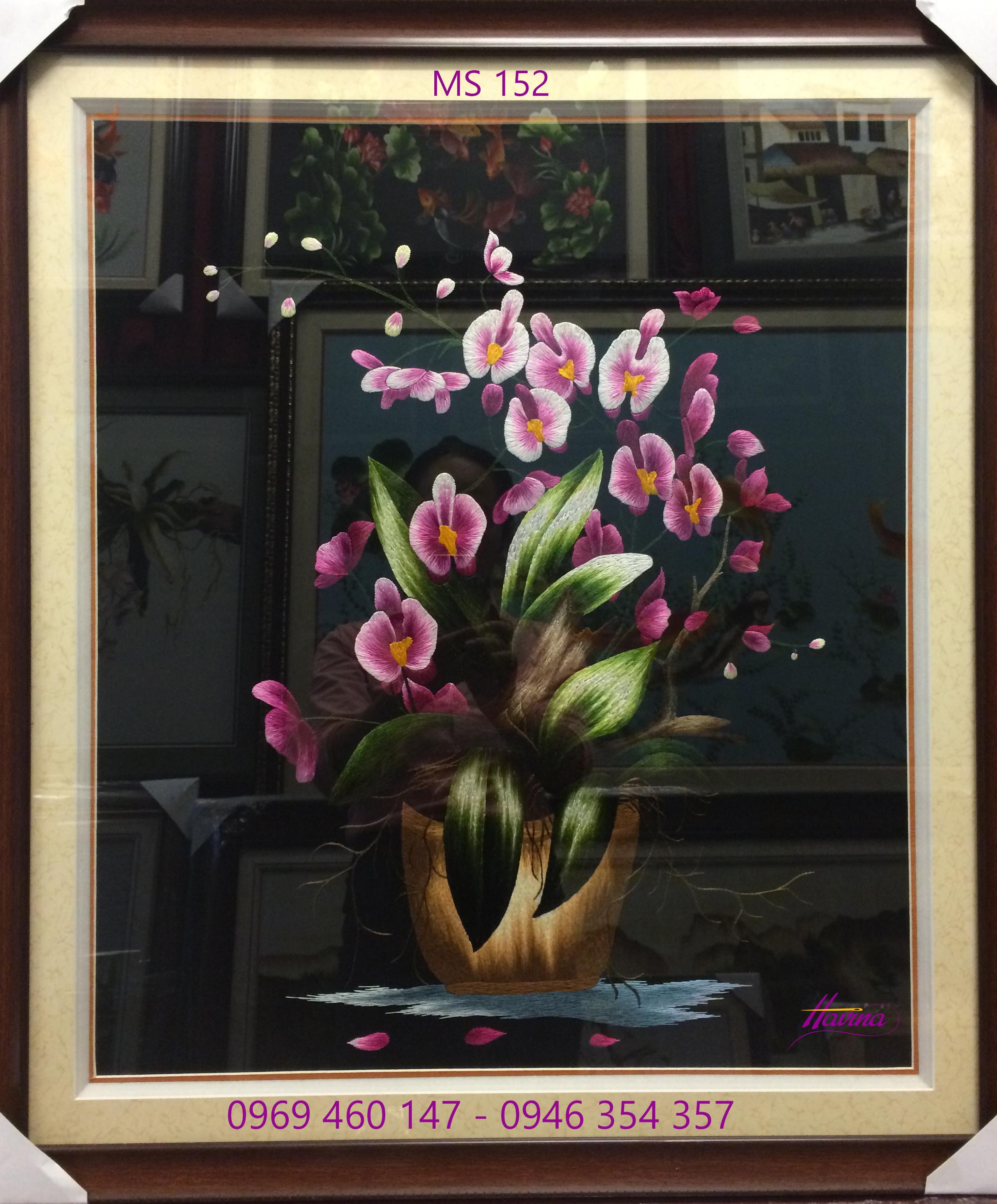 tranh thêu hoa lan 152