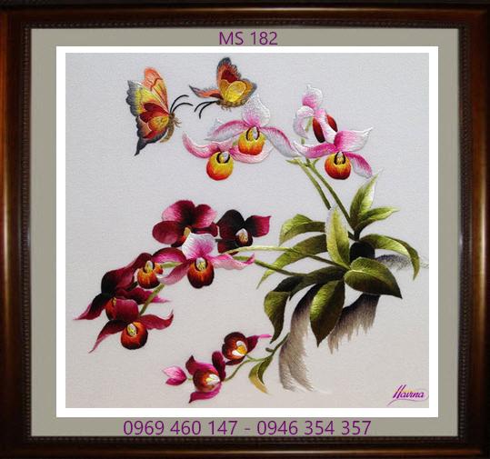 tranh thêu hoa lan 182