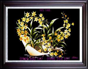 tranh thêu hoa lan 148