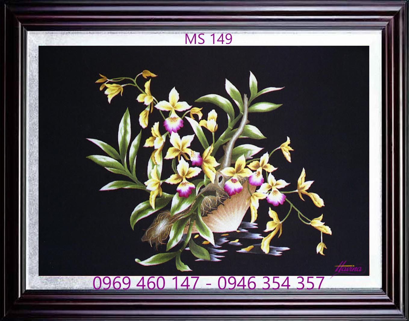tranh thêu hoa lan 149