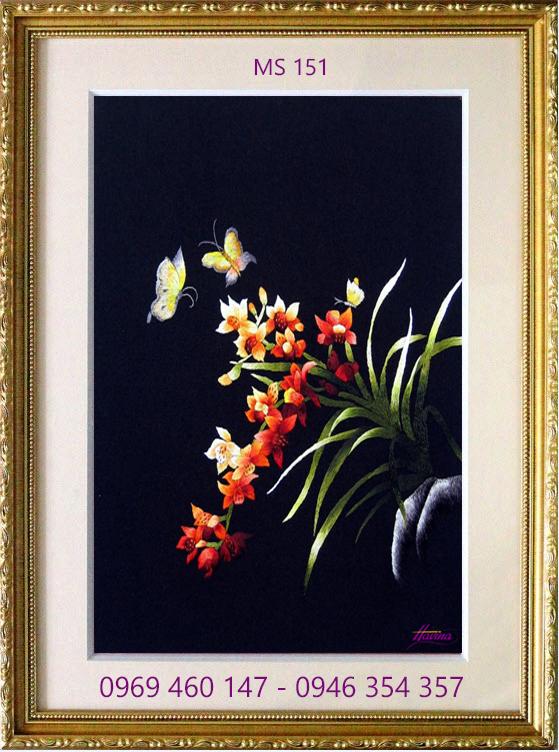 tranh thêu hoa lan 151