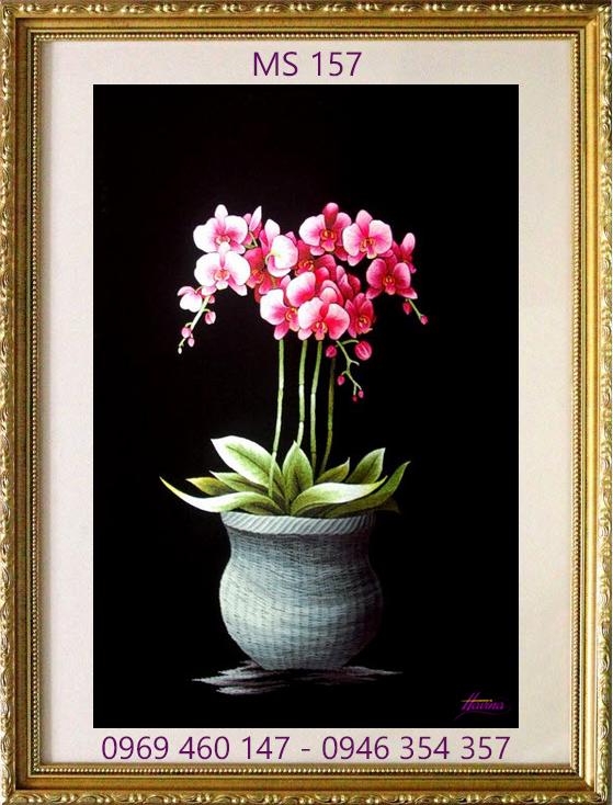 tranh thêu hoa lan 157