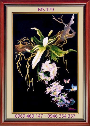 tranh thêu hoa lan 179