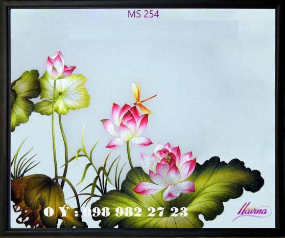 tranh thêu hoa sen 254