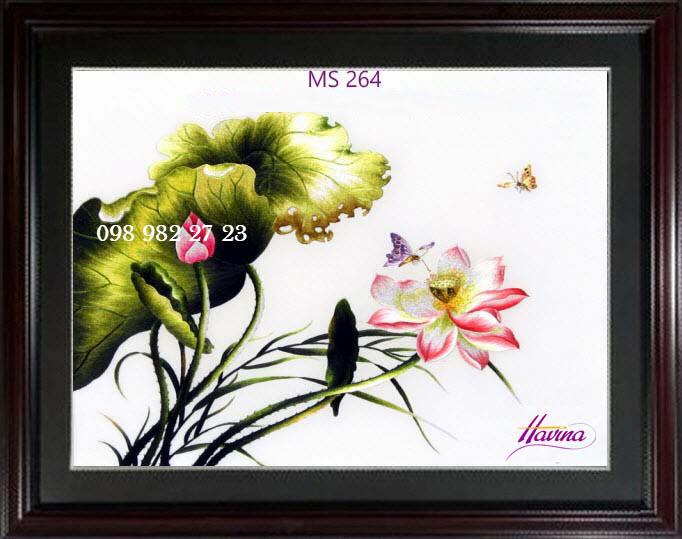 tranh thêu hoa sen 264