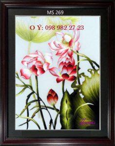 tranh thêu hoa sen 269