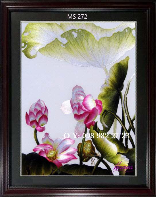 tranh thêu hoa sen 272