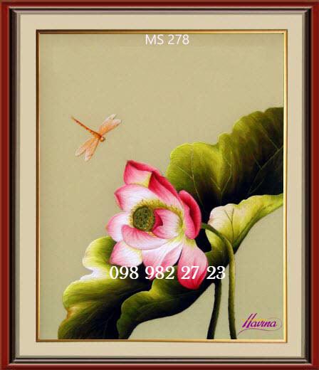 tranh thêu hoa sen 278
