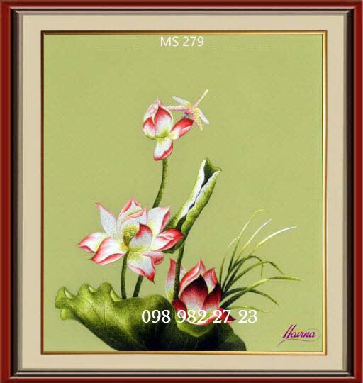 tranh thêu hoa sen 279