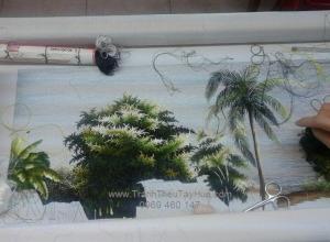 Lên mẫu tranh thêu phong cảnh làng quê Việt Nam
