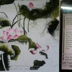 Tranh thêu hoa sen giao đến bác Thắng ở Hà Nội