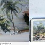 Giao tranh thêu phong cảnh làng quê cho khách hàng tặng đối tác người Nhật