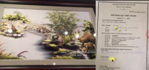 Tranh Thêu Làng Quê Việt Nam và hợp đồng thêu tranh